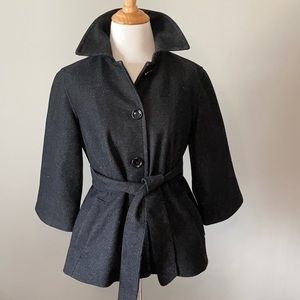Gap Wool Blend 3/4 Sleeve Lined Black Jacket XS